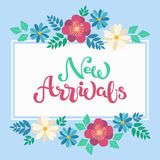 Hand sketched New Arrivals text in white frame spring floral backgroung. Hand sketched New Arrivals text as online shop logotype, badge and icon. Hand drawn Royalty Free Stock Photos