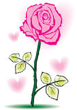 Hand sketched rose. Hand sketched single rose bud with hearts vector illustration