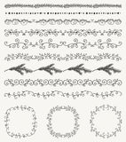 Hand Sketched Seamless Borders, Frames, Dividers Royalty Free Stock Photos