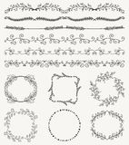 Hand Sketched Seamless Borders, Frames, Dividers Stock Photo