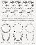 Hand Sketched Seamless Borders, Frames, Dividers. Collection of Black Artistic Hand Sketched Decorative Doodle Vintage Seamless Borders. Frames, Wreaths Royalty Free Stock Photography