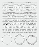 Hand Sketched Seamless Borders, Frames, Dividers Stock Photography