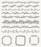 Hand Sketched Seamless Borders, Frames, Dividers, Swirls Stock Images
