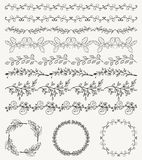 Hand Sketched Seamless Borders, Frames, Dividers, Swirls. Collection of Black Artistic Seamless Hand Sketched Decorative Doodle Vintage Borders and Frames Royalty Free Stock Photos