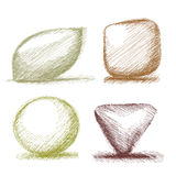 Hand sketched shapes buttons Stock Photography