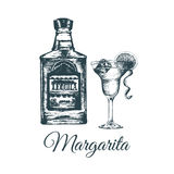 Hand sketched tequila bottle and margarita glass.Alcoholic drink set drawing.Vector illustration of traditional cocktail Stock Photos