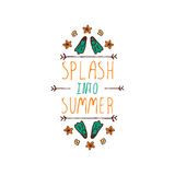 Hand-sketched typographic element with flippers and starfish Stock Photography