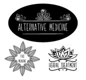 Hand-sketched typographic elements for ads, of signboards, packaging and identity and web designs. Alternative medicine, herbal me Stock Image