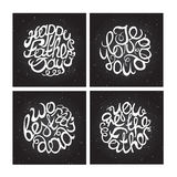 Hand-sketched typographic elements on chalkboard Stock Image