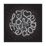 Hand-sketched typographic elements on chalkboard Royalty Free Stock Photography