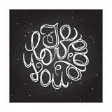 Hand-sketched typographic elements on chalkboard Stock Images