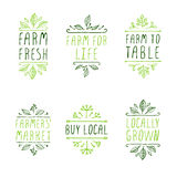 Hand-sketched typographic elements. Farm product labels. Royalty Free Stock Photography
