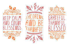 Hand-sketched typographic elements. Thanksgiving elements. Hand-sketched typographic elements on white background. Keep calm and count blessings. Eat, drink and Royalty Free Stock Photography