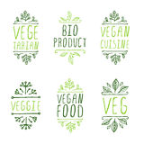 Hand-sketched typographic elements. Vegan product labels. Stock Images