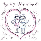 Hand Sketched Vector Greeting Card With Two Cute Angels. stock illustration