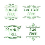 Hand Sketched VECTOR Icons for Packaging of Health Eat Products: Sugar, Peanut, Lactose, Egg FREE Production. royalty free illustration