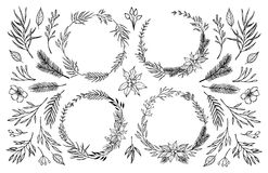 Hand sketched vector illustration. Laurel wreath with floral ele. Ments. Christmas elements. Perfect for invitations, greeting cards, Wedding Frames, posters Royalty Free Stock Image