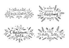 Hand sketched vector illustrations - 4 ready to use christmas. Hand sketched vector illustrations - 4 ready to use christmas lettering with floral elements Royalty Free Stock Photo