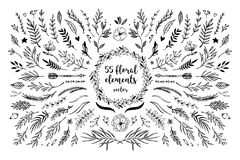 Hand sketched vector vintage elements  laurels, frames, leaves,. Flowers, swirls and feathers. Wild and free. Perfect for invitations, greeting cards, quotes Stock Photography
