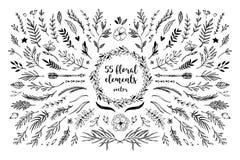 Hand sketched vector vintage elements  laurels, frames, leaves, Stock Photography
