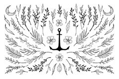 Hand sketched vector vintage elements Royalty Free Stock Photo