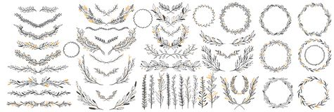 Hand sketched vector vintage elements: wreath,leaves, frame. Perfect for invitations, greeting cards, quotes, blogs, Wedding Frame. Hand sketched vector vintage vector illustration
