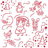 Hand sketched winter doodles Stock Images