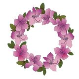 Hand sketched color wreath of rhododendron Stock Photo