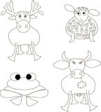 The hand sketches of animals: elk, sheep, frog, cow. Black lines on white Royalty Free Stock Photo