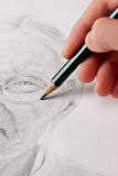 Hand Sketching Elderly Woman Stock Image