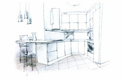 Hand sketching of a kitchen interior Royalty Free Stock Photos