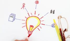 Hand sketching lightbulb Stock Photo