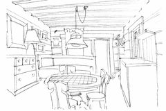 Hand sketching of a modern kitchen interior Royalty Free Stock Photos