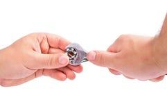 hand skiftnyckeln Arkivfoto