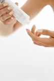 Hand Skin Care. Closeup Of Female Hands Holding Cream Tube Royalty Free Stock Images