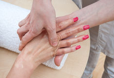 Hand skin treatment Royalty Free Stock Image