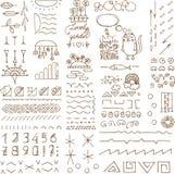 Hand skissade klotterbeståndsdelar Fotografering för Bildbyråer