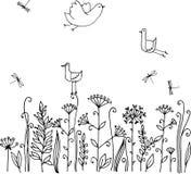 Hand skissat lösa blommor och gräs med fåglar Arkivbilder