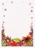 Hand skizzierte Blumen-Grenze Stockfoto