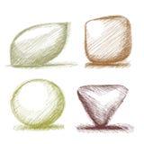 Hand skizzierte Formtasten Stock Abbildung