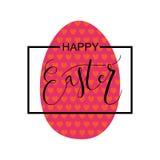 Hand skizzierte fröhliche Ostern, die als Ostern-Firmenzeichen, -ausweis oder -ikone eingestellt wurden Stockfoto
