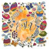 Hand skizzierte fröhliche Ostern, die als Ostern-Firmenzeichen, -ausweis oder -ikone eingestellt wurden Lizenzfreie Stockbilder
