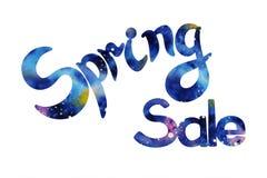 Hand skizzierte Frühlings-Verkauf mit wqtercolor Beschaffenheit Stockfotos