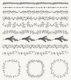 Hand skizzierte nahtlose Grenzen, Rahmen, Teiler Lizenzfreie Stockfotos