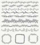Hand skizzierte nahtlose Grenzen, Rahmen, Teiler, Strudel Stockbilder