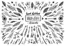 Hand skizzierte Vektorweinleseelemente (Lorbeer, Rahmen, Blätter, Lizenzfreies Stockbild