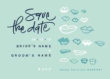 Hand-skriftlig räddning datumet med kyssar Arkivbild