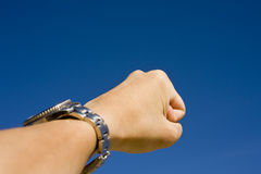 Hand on sky,show challenge spirit Royalty Free Stock Images