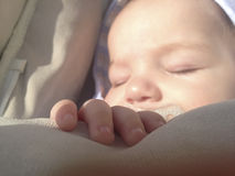 Hand at sleeping four month baby boy Stock Image
