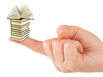 Hand and small books. Isolated on white background Royalty Free Stock Photography